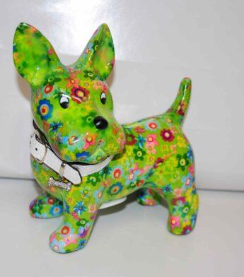Taupyklė-šuniukas-žalias-su-gėlėmis