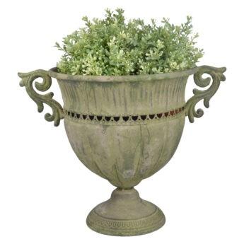 Žalsvo-metalo-apvali-vaza-L